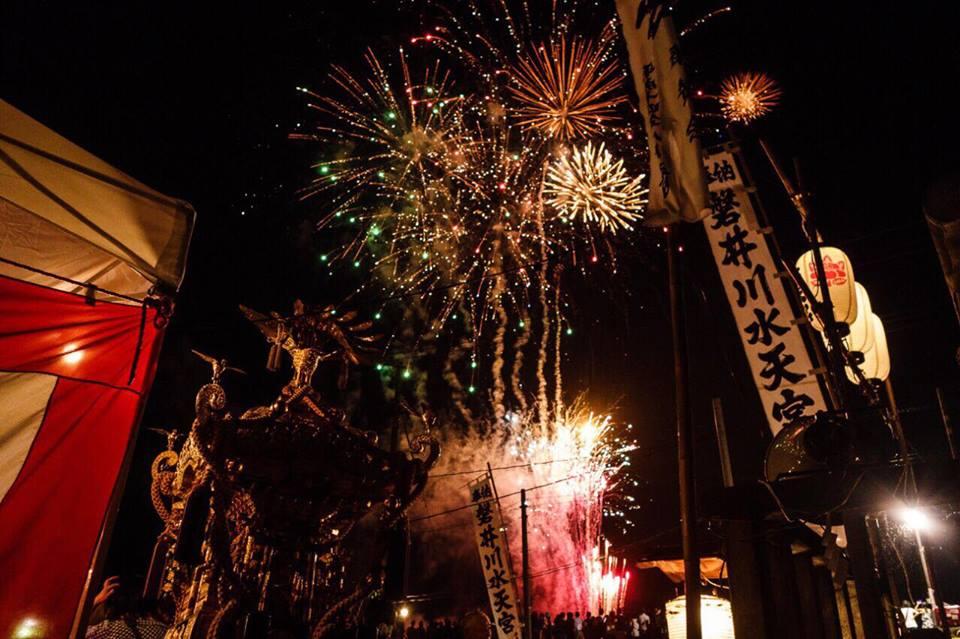 水天宮神輿、花火、祭り