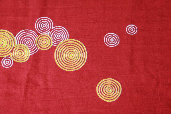 水紋様 臙脂色 手拭い 手ぬぐい オリジナル