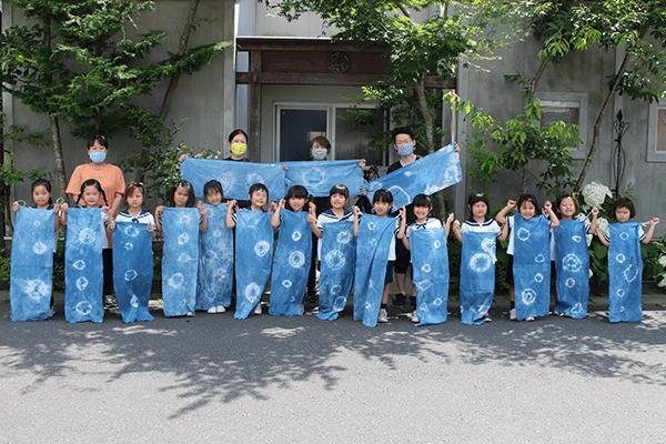 藍染体験 藍染め 手拭い 京屋染物店 幼稚園